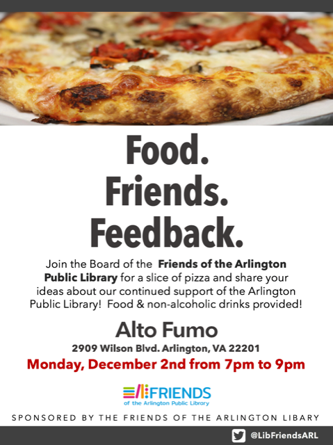 Friends of Arlington Library Board Meeting December 2 2019 Pizza night details